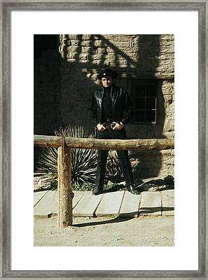 Framed Print featuring the photograph Johnny Cash Gunfighter Hitching Post Old Tucson Arizona 1971 by David Lee Guss