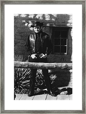 Framed Print featuring the photograph Johnny Cash Gunslinger Hitching Post Old Tucson Arizona 1971  by David Lee Guss