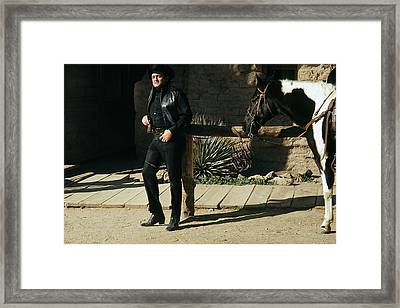 Framed Print featuring the photograph Johnny Cash Horse Old Tucson Arizona 1971 by David Lee Guss