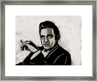 Johnny Cash Framed Print by Jeff DOttavio