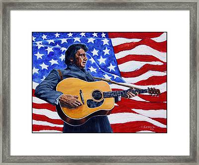 Johnny Cash Framed Print by John Lautermilch
