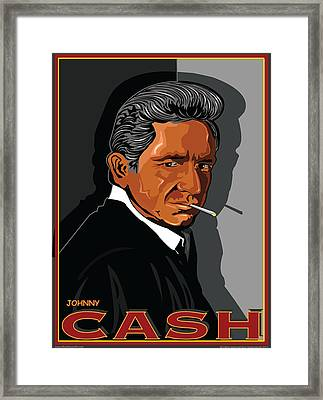 Johnny Cash Framed Print by Larry Butterworth