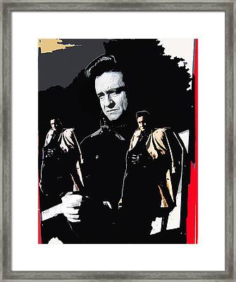 Framed Print featuring the photograph Johnny Cash Multiples  Trench Coat Sitting Collage 1971-2008 by David Lee Guss