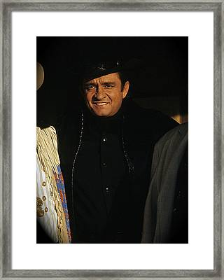 Framed Print featuring the photograph Johnny Cash Music Homage Solitary Man Flanked By Chill Wills  Andy Devine Old Tucson Az 1971 by David Lee Guss