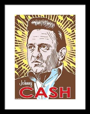 Johnny Cash Digital Art Framed Prints