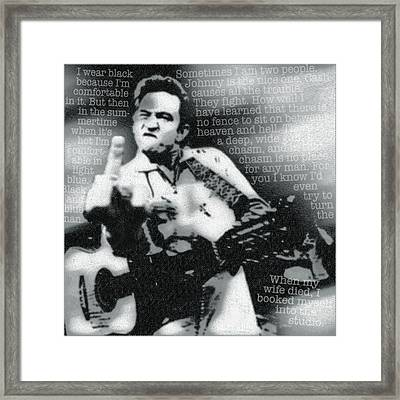 Johnny Cash Rebel Framed Print by Tony Rubino