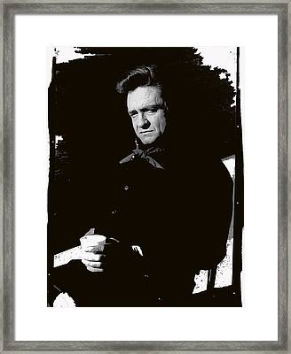 Framed Print featuring the photograph Johnny Cash Sitting With Cup  Old Tucson Arizona 1971-2009 by David Lee Guss