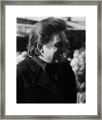 Framed Print featuring the photograph Johnny Cash Smiling Old Tucson Arizona 1971 by David Lee Guss
