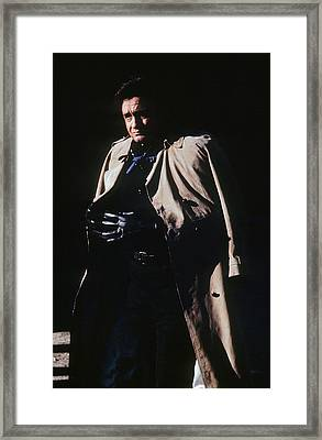Framed Print featuring the photograph Johnny Cash Trench Coat Old Tucson Arizona 1971 by David Lee Guss