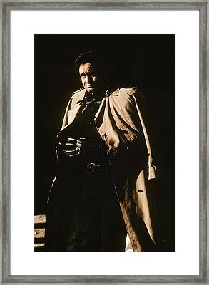 Framed Print featuring the photograph Johnny Cash Trench Coat Variation  Old Tucson Arizona 1971 by David Lee Guss