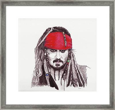 Johnny Depp As Jack Sparrow Framed Print by Martin Howard