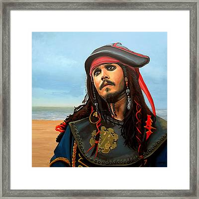 Johnny Depp As Jack Sparrow Framed Print by Paul Meijering