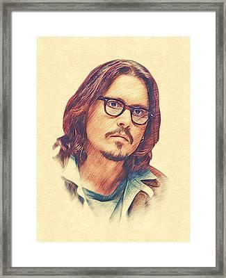 Johnny Depp Framed Print by Marina Likholat