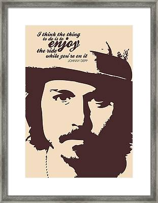 Johnny Depp Minimalist Poster Framed Print by Lab No 4 - The Quotography Department