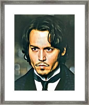 Johnny Depp Portrait Framed Print by Florian Rodarte