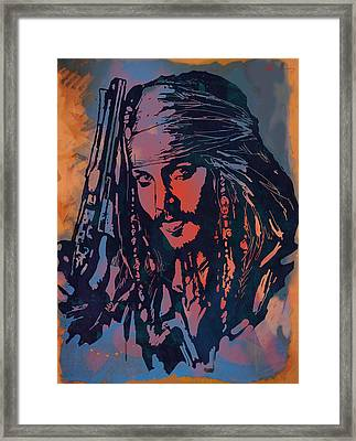 Johnny Depp - Stylised Etching Pop Art Poster Framed Print by Kim Wang