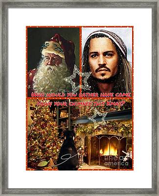 Johnny Depp Xmas Greeting Framed Print