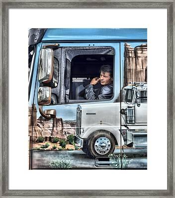 Johnny Hallyday Framed Print by Mick Flynn