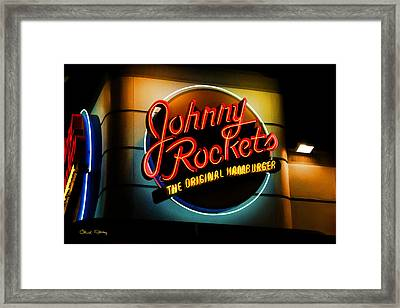 Johnny Rockets Sign Framed Print by Chuck Staley