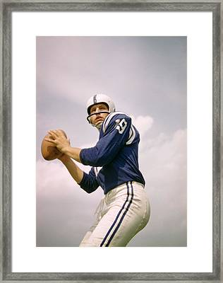 Johnny Unitas Drops Back Framed Print