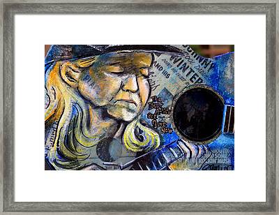 Johnny Winter Painted Guitar Framed Print by Fiona Kennard