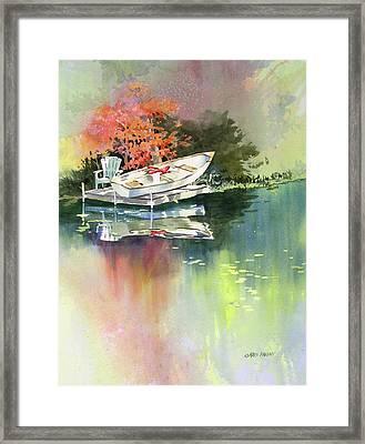 Johns Boat Autumn Framed Print by Kris Parins