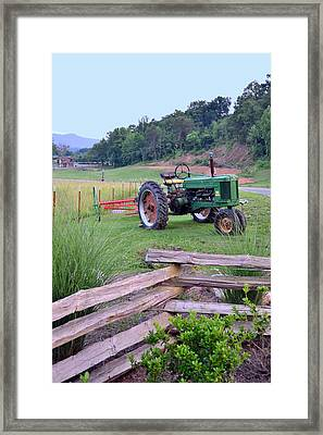 John's Green Tractor Framed Print by Larry Bishop