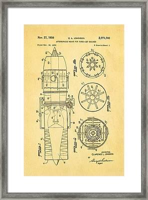 Johnson Jet Afterburner Patent Art 1956 Framed Print by Ian Monk