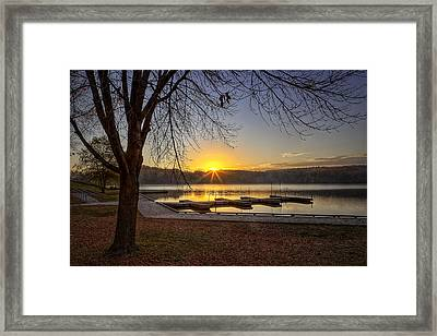 Johnson Lake Sunrise Framed Print by Jeff Burton