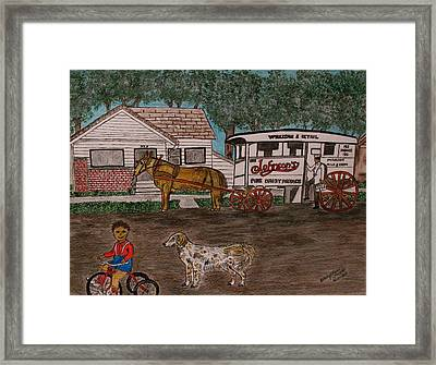 Framed Print featuring the painting Johnsons Milk Wagon Pulled By A Horse  by Kathy Marrs Chandler