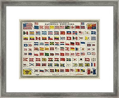 Johnsons New Chart Of National Emblems Framed Print