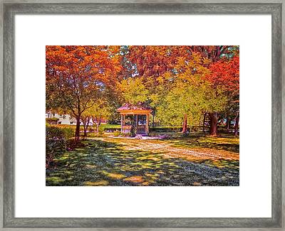 Join Me In The Gazebo On This Beautiful Autumn Day Framed Print by Thomas Woolworth