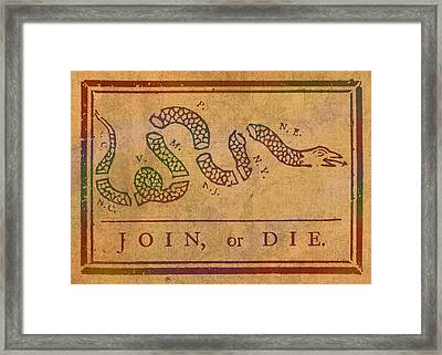 Join Or Die Benjamin Franklin Political Cartoon Pennsylvania Gazette Commentary 1754 On Parchment  Framed Print by Design Turnpike