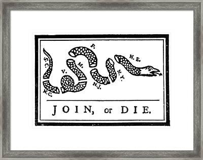Join Or Die Cartoon, 1754 Framed Print by Granger