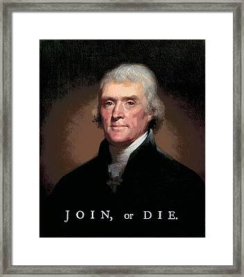 Join Or Die Jefferson Framed Print by Daniel Hagerman