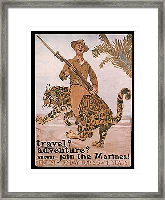 Framed Print featuring the mixed media Join The Marines by presented by American Classic Art