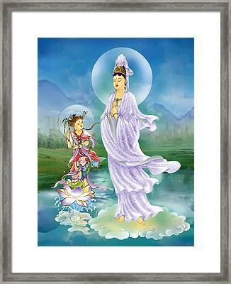 Joining Palms Kuan Yin Framed Print by Lanjee Chee