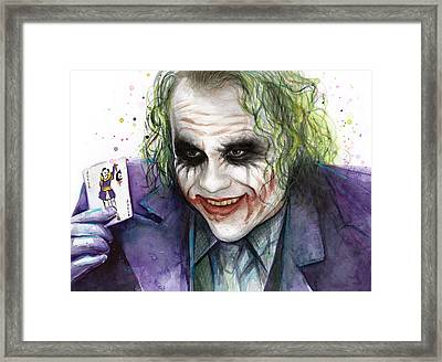 Joker Watercolor Portrait Framed Print by Olga Shvartsur