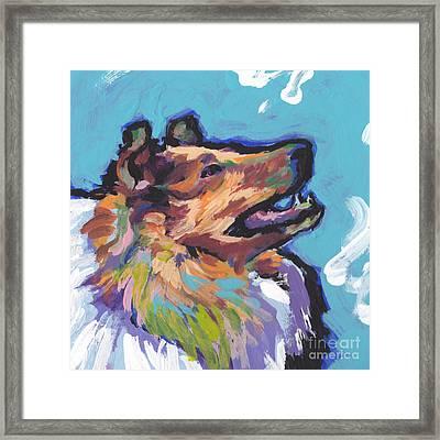 Jolly Collie Framed Print by Lea S