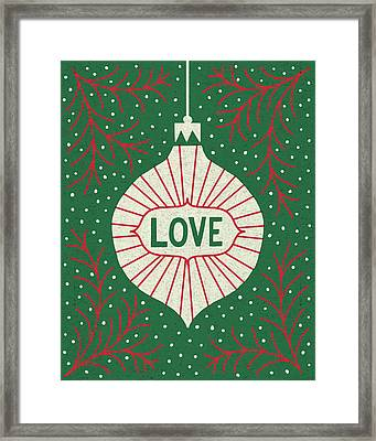 Jolly Holiday Ornaments Love Framed Print by Michael Mullan