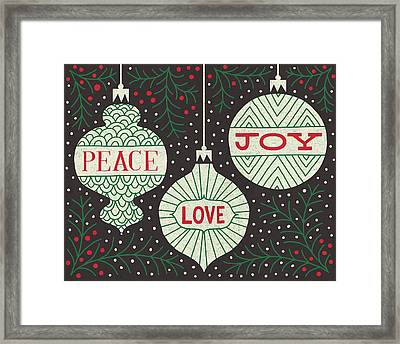 Jolly Holiday Ornaments Peace Love Joy Framed Print by Michael Mullan
