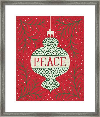 Jolly Holiday Ornaments Peace Framed Print by Michael Mullan