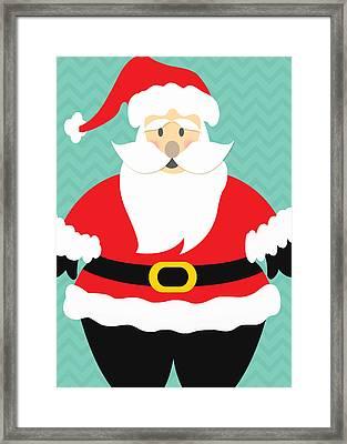 Jolly Santa Claus Framed Print by Linda Woods