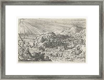 Jonah Being Swallowed By The Fish, Hans Bol Framed Print