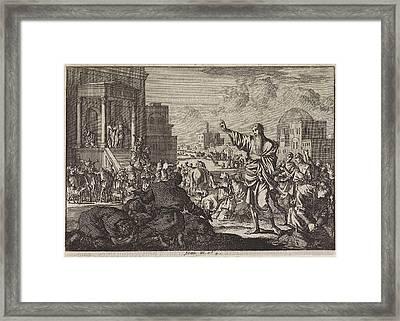 Jonah Predicts The Downfall Of Nineveh, Jan Luyken Framed Print