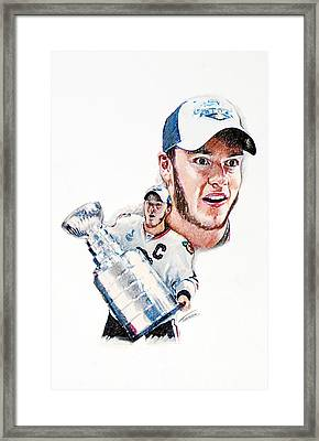 Jonathan Toews - The Season Framed Print by Jerry Tibstra