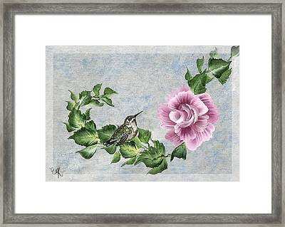 Framed Print featuring the painting Joni's Flying Jewel by Ella Kaye Dickey