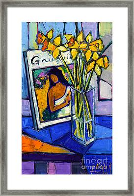 Jonquils And Gauguin Framed Print by Mona Edulesco