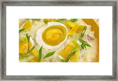 Jook Chinese Rice Porridge With Salted Duck Egg Framed Print by James Temple