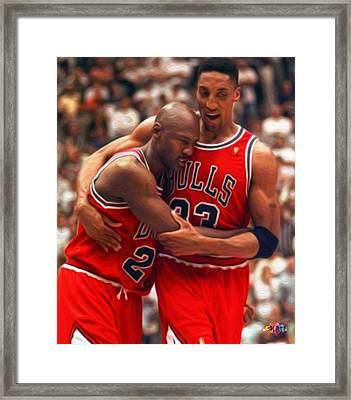 Jordan And Pippen Framed Print by Paint Splat